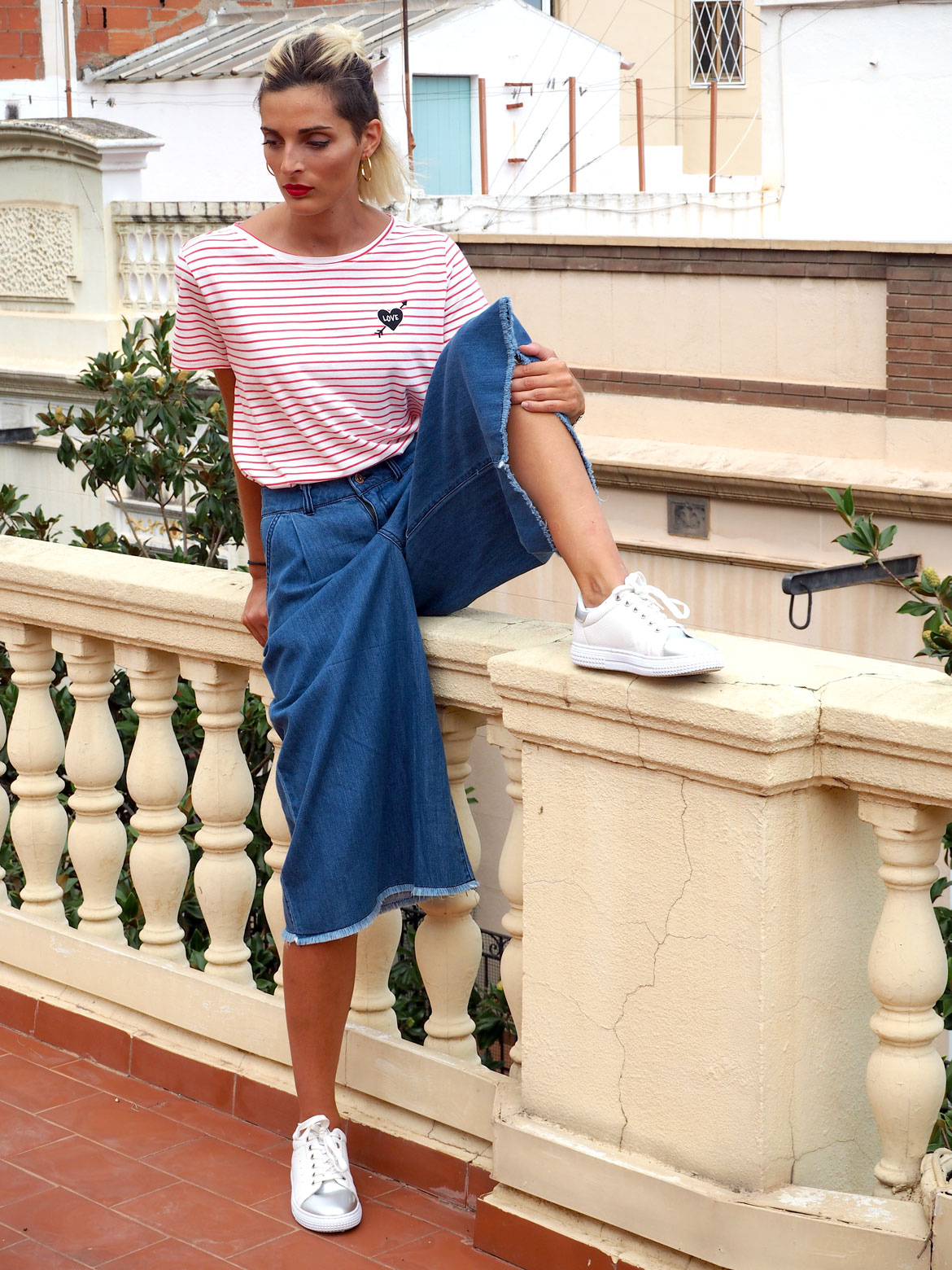 conjunto pantalones denim culotte